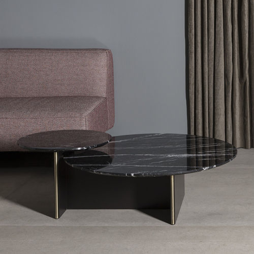 contemporary coffee table / lacquered MDF / marble / round