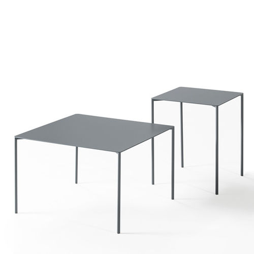 contemporary coffee table / lacquered metal / square / contract