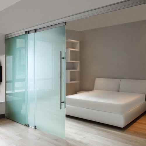 sliding partition / aluminum / glazed / for offices