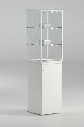 contemporary display case / glass / illuminated / commercial