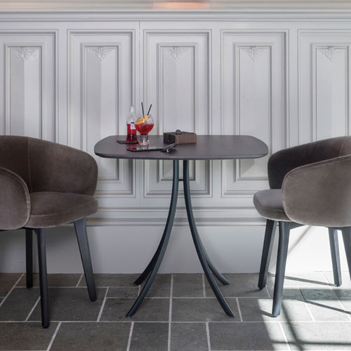 contemporary bistro table / solid wood / oak / square
