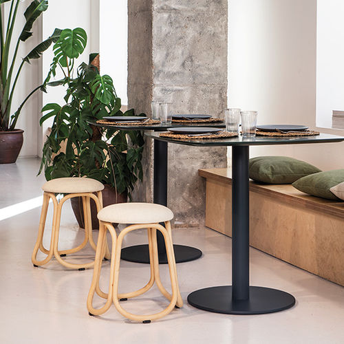contemporary bistro table / solid wood / plywood / oak