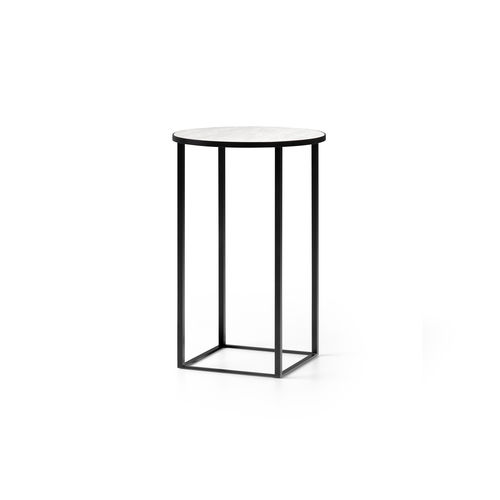 contemporary side table / glass / ceramic / round
