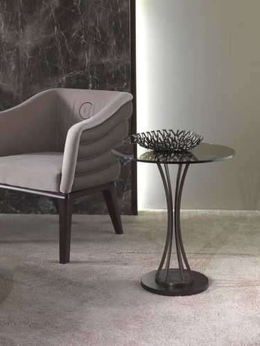 contemporary pedestal table / glass / metal / round