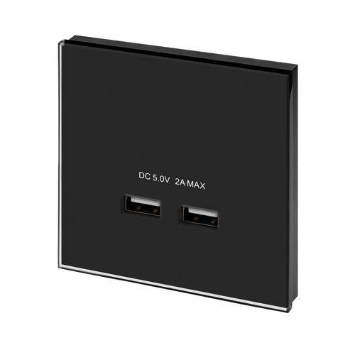 USB socket / wall-mounted / glass / contemporary