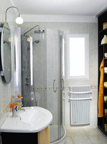 Hot water towel radiator / metal / contemporary / radiant panel AURÉA BAIN PROG NOIROT