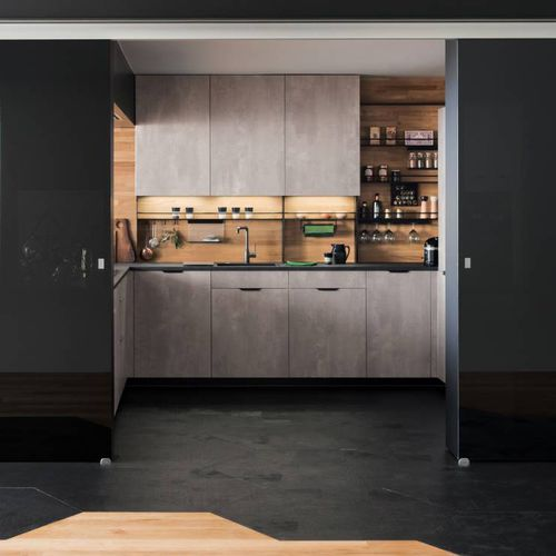 contemporary kitchen / oak / lacquered wood / metal