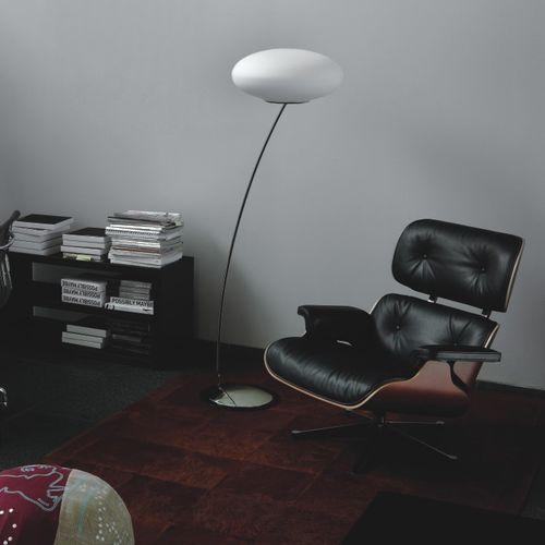 floor-standing lamp / contemporary / nickel / blown glass
