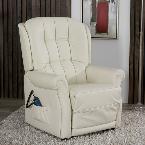 leather massage armchair / fabric / with footrest