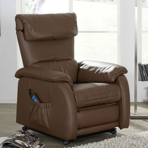 leather massage armchair / with footrest / with headrest / ergonomic