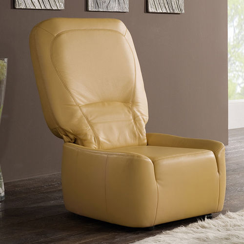 contemporary fireside chair / fabric / leather / high-back