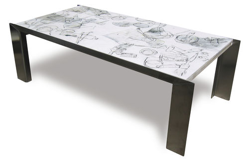 contemporary coffee table / painted wood / stainless steel / rectangular