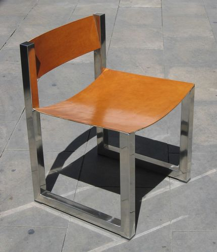 contemporary chair / custom / sled base / leather