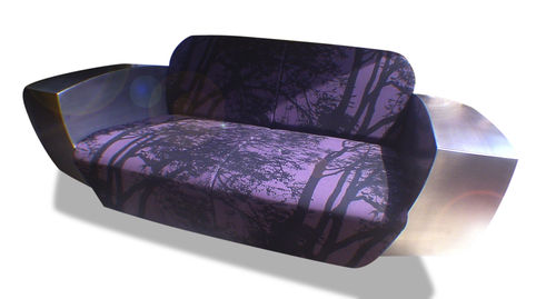 original design sofa / canvas / stainless steel / for hotels