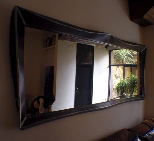 wall-mounted mirror / hanging / living room / industrial style