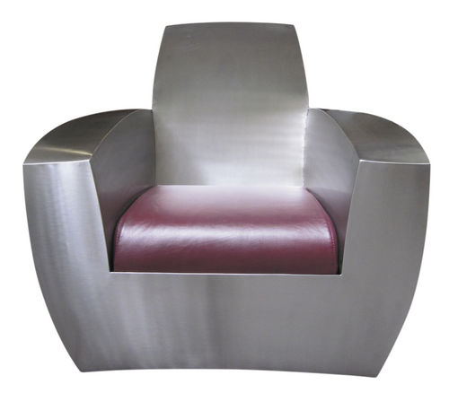 Original design armchair / leather / stainless steel / with concealed casters EASY TWO_CLASSIC ICI ET LA