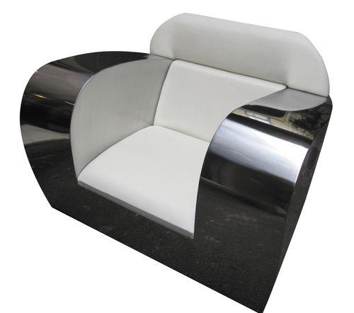 original design armchair / leather / stainless steel / club