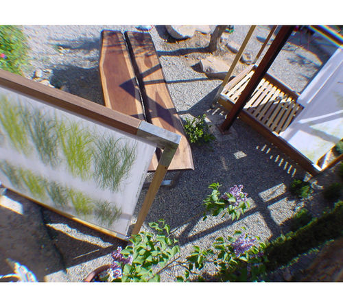 contemporary screen / wooden / stainless steel / fabric
