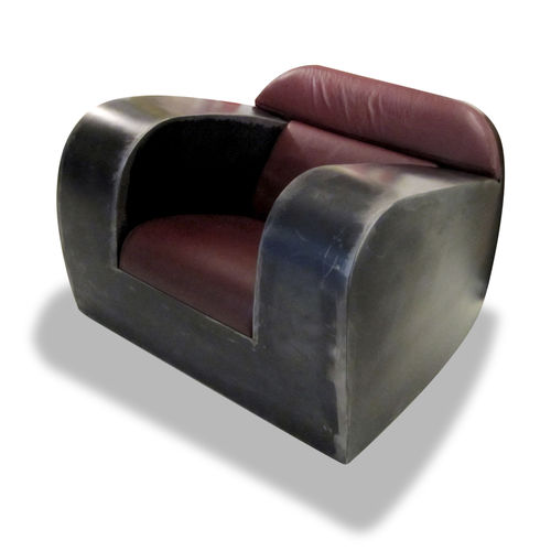 industrial style armchair / leather / metal / with armrests