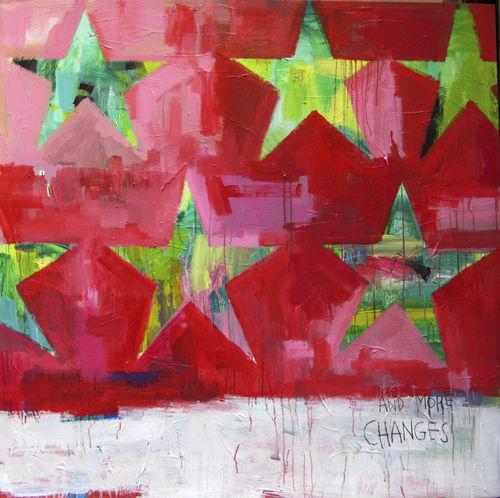 acrylic decorative painting - ICI ET LA