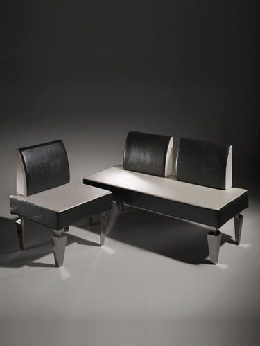 Contemporary upholstered bench / leather / for health facilities / black ORION Salon Ambience