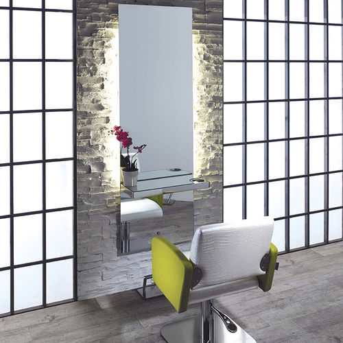 Contemporary dressing table / aluminum / wall-mounted / for hairdressers LUNAR Salon Ambience