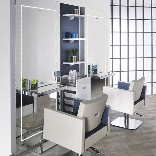 Contemporary dressing table / aluminum / wall-mounted / for hairdressers PRECIOUS Salon Ambience