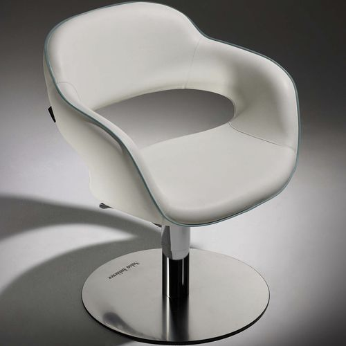 synthetic leather beauty salon chair / steel / chromed metal / polyurethane