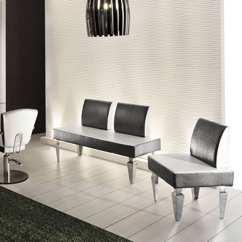 traditional upholstered bench / aluminum / synthetic leather / commercial