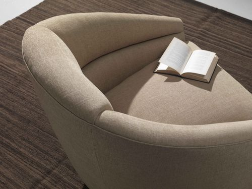 Contemporary armchair / textile / swivel / beige MOVIE Divani Santambrogio