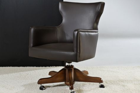 Leather office armchair / swivel / star base / black VALENCIA : PHILADELPHIA Divani Santambrogio