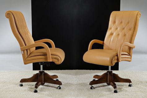 Traditional executive chair / leather / swivel / on casters LISBONA : SACRAMENTO  Divani Santambrogio