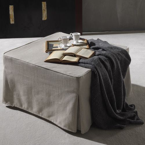 contemporary pouf / fabric / leather / square