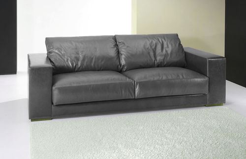 contemporary sofa / leather / 3-seater / black