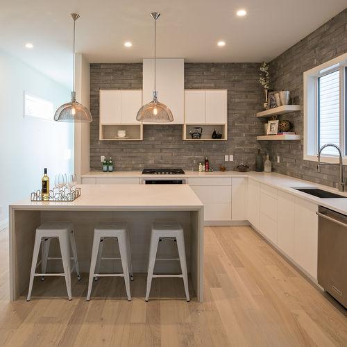 contemporary kitchen / melamine / L-shaped / island