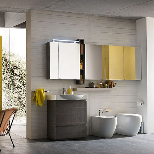 free-standing washbasin cabinet / melamine / contemporary / with mirror