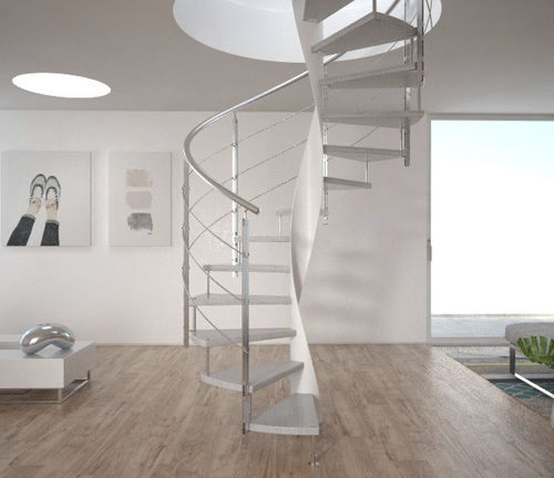 helical staircase / metal frame / wooden steps / glass steps