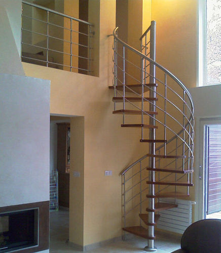 spiral staircase / stainless steel frame / wooden steps / without risers