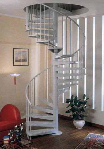 spiral staircase / metal frame / metal steps / without risers