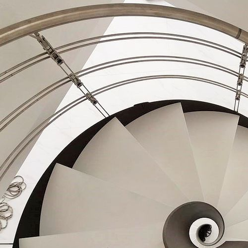 spiral staircase / helical / metal frame / wooden steps