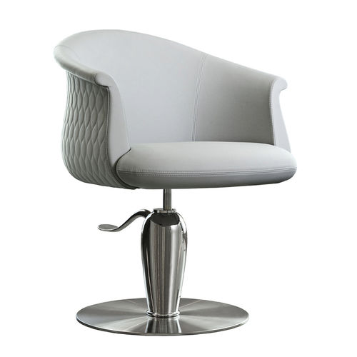 metal beauty salon chair / synthetic leather / central base / with hydraulic pump