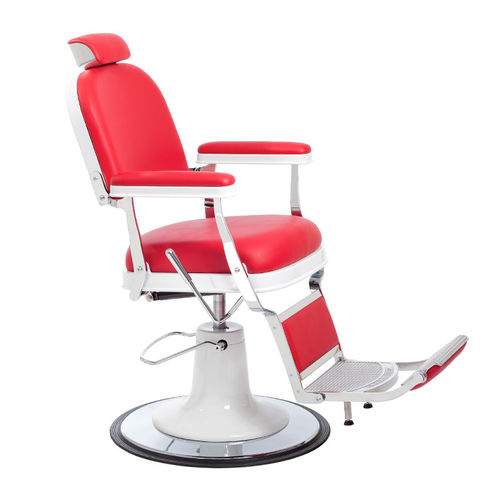 chromed metal barber chair / synthetic leather / with footrest / central base