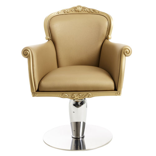leather beauty salon chair / central base / with hydraulic pump / swivel