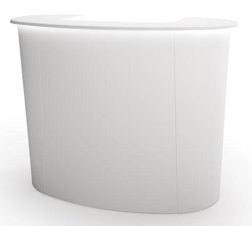 semicircular reception desk / wooden / laminate / fiberglass