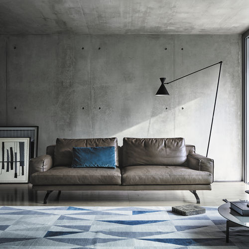 corner sofa / contemporary / leather / metal