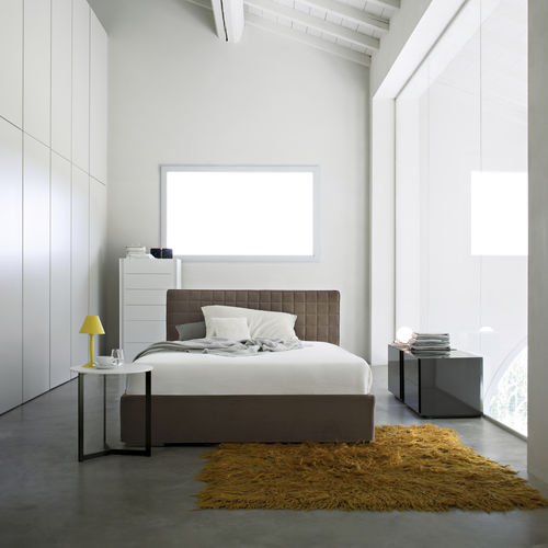 double bed / contemporary / upholstered / with in-base storage