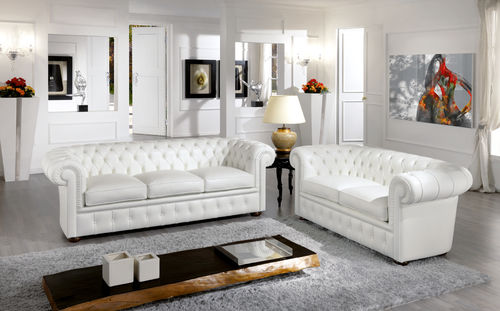 Chesterfield sofa / leather / 2-person / white