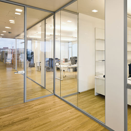 removable partition / glass / for offices / transparent