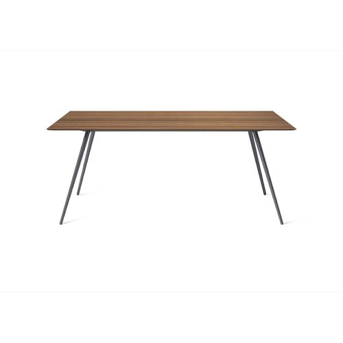 contemporary table / wooden / lacquered steel / marble