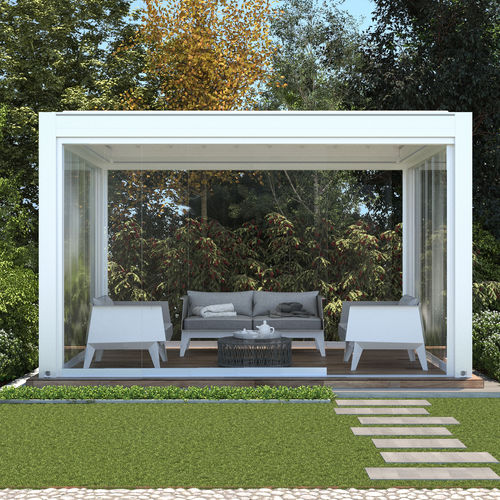 self-supporting pergola / wall-mounted / aluminum / fabric sliding canopy